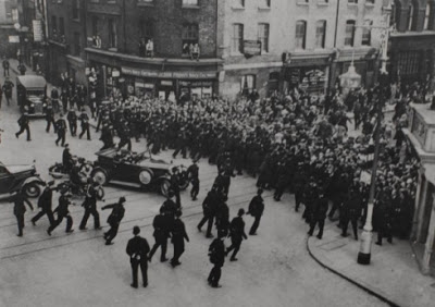 Entrance to Cable St on Sunday afternoon, October 4, 1936... crowds stop Mosley's Blackshirts passing through [Tower Hamlets Archive picture]