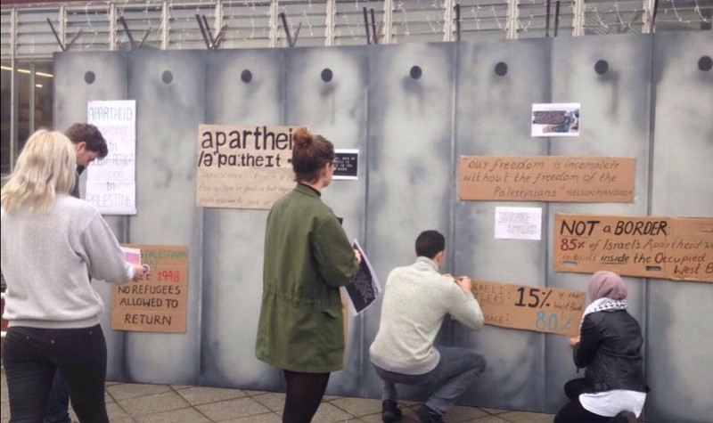 Students at the University of Cambridge and five other campuses erected mock apartheid walls during Israeli Apartheid Week.