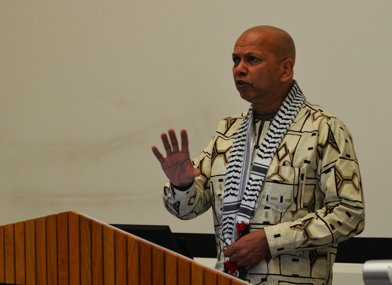South African anti-apartheid activist and academic Farid Esack spokes to more than 170 at an Israeli Apartheid Week event at the University of Sussex. Photo credit Tamara Lasheras