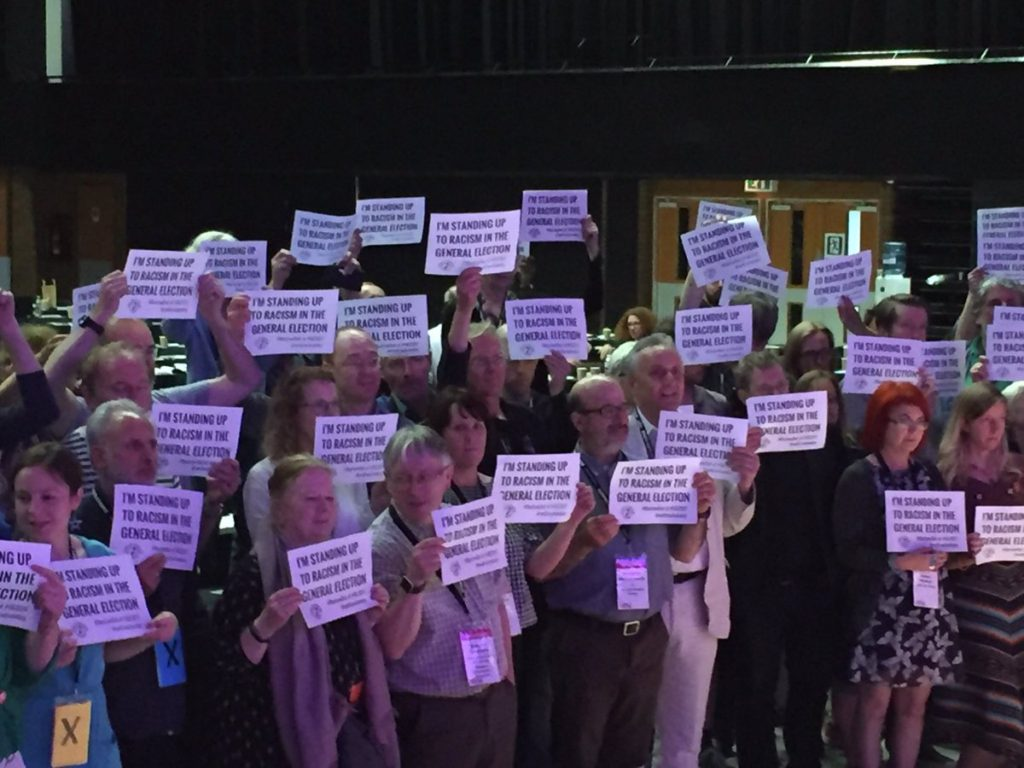 UCU Congress delegates standing up to racism