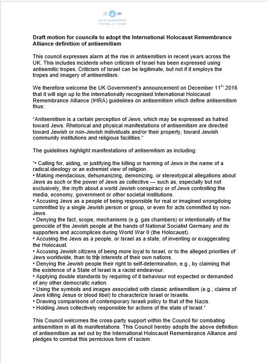 Akehurst's motion to intensify the IHRA definition