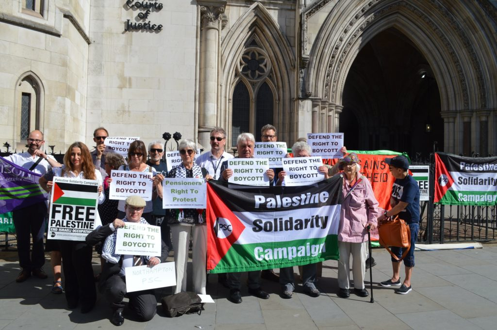 PSC supporters outside High Court demand judge Judge rules pensions regulations illegal