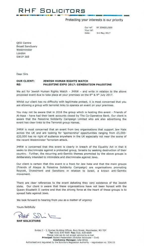 Lawfare letter from RHF solicitors
