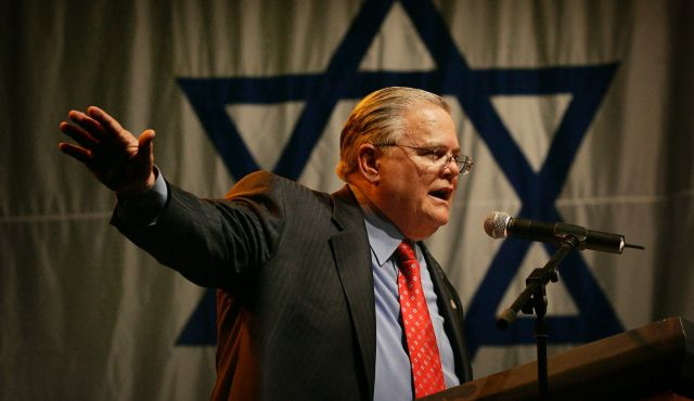 CUFI leader John Hagee speaks to Israel supporters at a rally at the Jerusalem convention centre in 2008