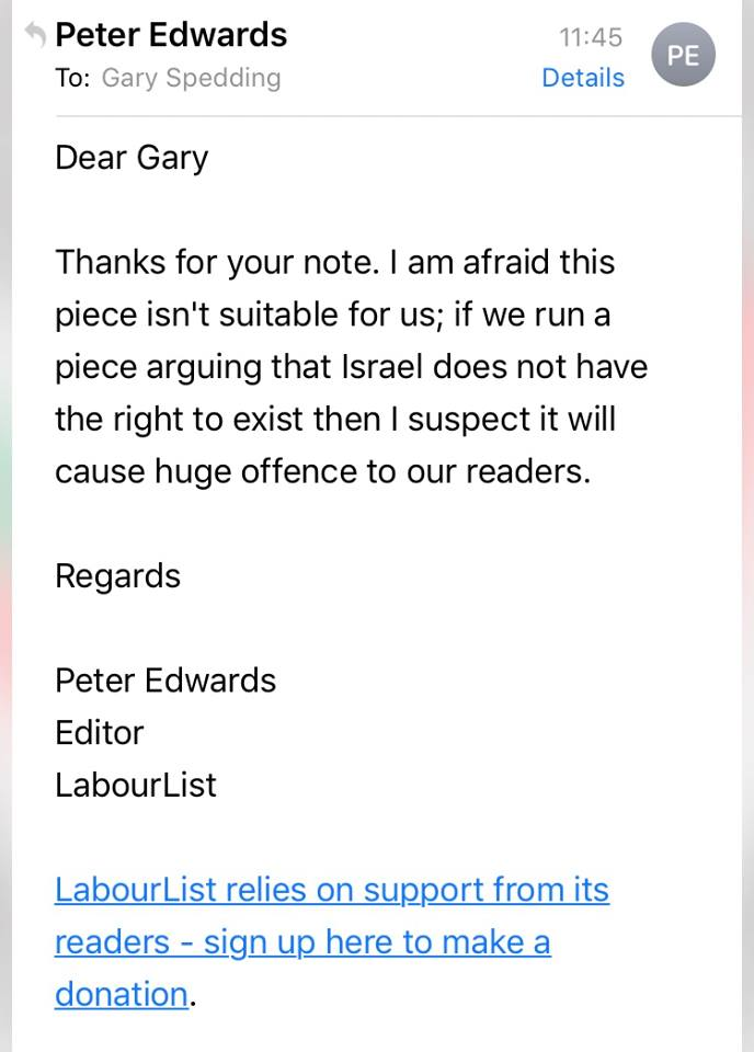 Labour List rejectionof Gary Spedding's article on te gorunds 'it may give offence'