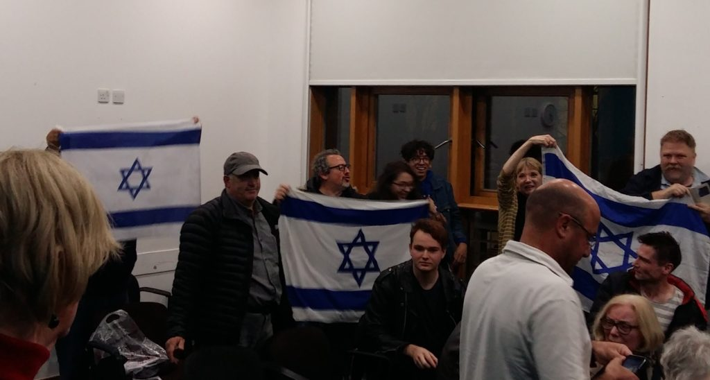 """Some of the Zionists who disrupted the meeting """"We're just Jews calling other Jews kapos"""", Disruptors at a Free Speech on Israel meeting at SOAS on November 14."""