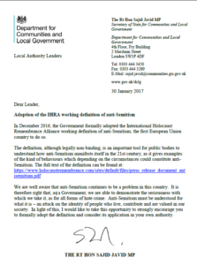 Sajid Javid's letter to Local Authorities urging IHRA adoption