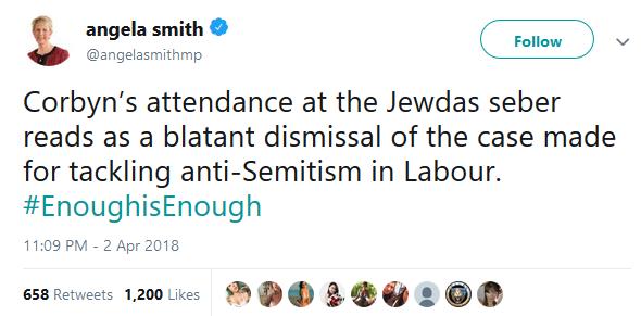 Angela Smiiht's tweet about Corbyn attending Jewdas seber (sic)